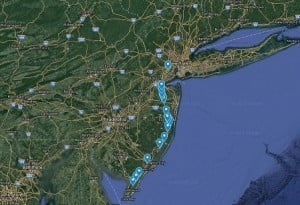 image of map and nj diners along route 9